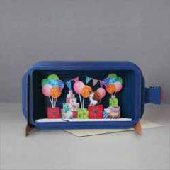 3D pop up wenskaart - message in a bottle - katten met ballonnen en cadeautjes