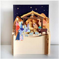 3d pop-up kerstkaart miniature greetings - kerststal