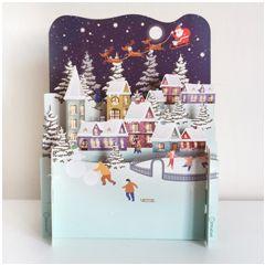 3d pop-up kerstkaart miniature greetings - sneeuwpret schaatsen   muller wenskaarten