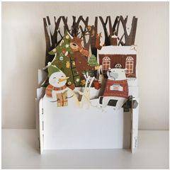 3d pop-up kerstkaart miniature greetings - sneeuwpop en dieren   muller wenskaarten