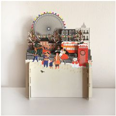 3d pop-up kerstkaart miniature greetings - reuzenrad   muller wenskaarten