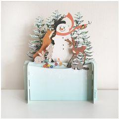 3d pop-up kerstkaart miniature greetings - sneeuwpop met dieren