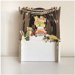3d pop-up kerstkaart miniature greetings - auto met cadeautjes