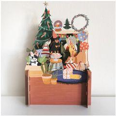 3d pop-up kerstkaart miniature greetings - honden bij kerstboom en cadeautjes