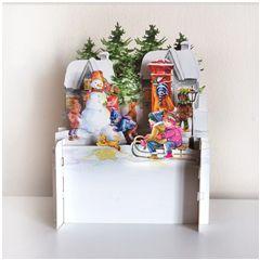 3d pop-up kerstkaart miniature greetings - kinderen spelen in sneeuw