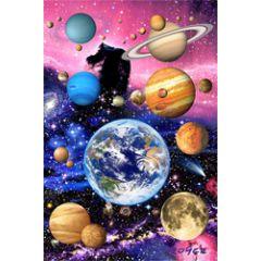 3d ansichtkaart - lenticulaire kaart - planeten