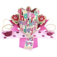 3D moederdagkaart - pop ups - happy mother's day - with love