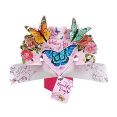 3D moederdagkaart - pop ups - sending mother's day wishes for a beautiful day - vlinders
