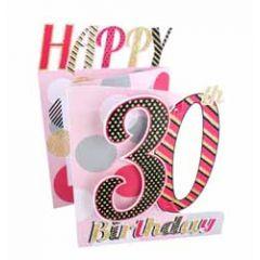 30 jaar - 3d verjaardagskaart cutting edge - happy 30th birthday - roze