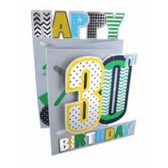 30 jaar - 3d verjaardagskaart cutting edge - happy 30th birthday - zilver