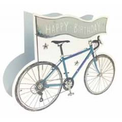 3d verjaardagskaart paper dazzle - happy birthday - racefiets