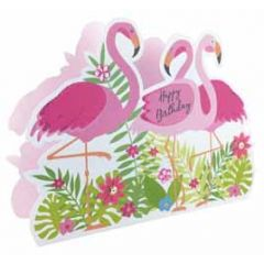 3d verjaardagskaart paper dazzle - happy birthday - flamingo