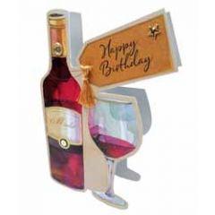 3d verjaardagskaart paper dazzle - happy birthday - rode wijn