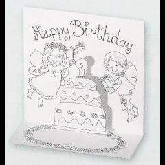 3d kleur- verjaardagskaart - happy birthday - taart