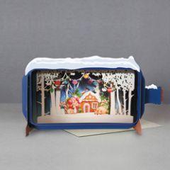 3D pop up kerstkaart - message in a bottle - peperkoekhuisje