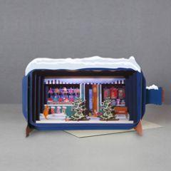 3D pop up kerstkaart - message in a bottle - winkel met kerstbomen