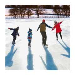 5 kerstkaarten woodmansterne - schaatsen