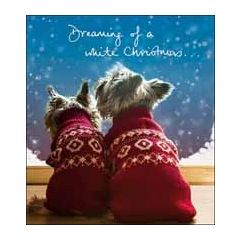 5 kerstkaarten woodmansterne - dreaming of a white christmas... - hondjes in kersttrui
