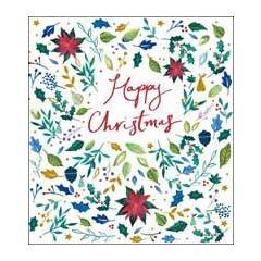 5 kerstkaarten woodmansterne - happy christmas - kerstster hulst