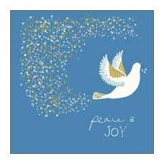luxe kerstkaart woodmansterne - peace & joy - duif