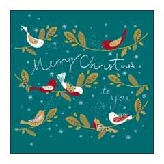 luxe kerstkaart woodmansterne - merry christmas to you - vogels