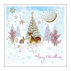 luxe kerstkaart woodmansterne - merry christmas - konijn en ree