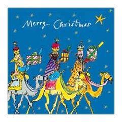 luxe kerstkaart woodmansterne quentin blake - merry christmas - drie wijzen