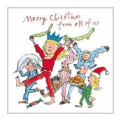 luxe kerstkaart woodmansterne quentin blake - merry christmas from all of us