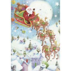 adventskalender kaart met envelop - kerstman in slee met rendieren