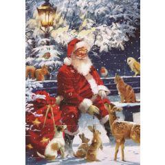 adventskalender kaart met envelop - kerstman op bank met dieren