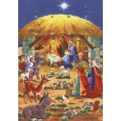 adventskalender kaart met envelop - stal met maria, josef, kindje, drie koningen en dieren