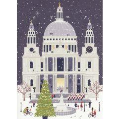 adventskalender kaart met envelop - kerk in kerstsfeer