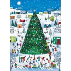 adventskalender a4+ met envelop - kerstboom en cadeautjes