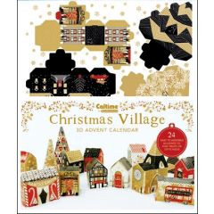 3D adventskalender A3 - bouw een dorpje in kerstsfeer - goud - rood - zwart
