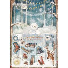 adventskalender A4+ met stickers - bos met sneeuwpop