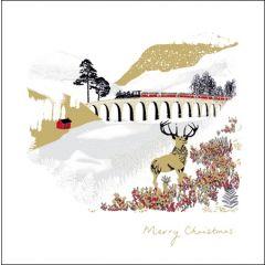 luxe kerstkaart woodmansterne - stoomtrein over viaduct met hert op de voorgrond