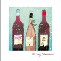 luxe kerstkaart woodmansterne - drie flessen kerstwijn