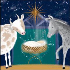 5 kerstkaarten woodmansterne - kribbe met ezel en koe