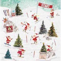 adventskalender met envelop - skiënde kerstman