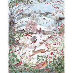 adventskalender a3 met envelop - dieren in winterlandschap