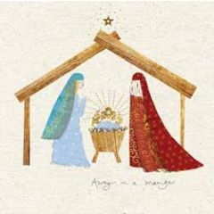 5  christelijke kerstkaarten woodmansterne - kerststal - away in a manger