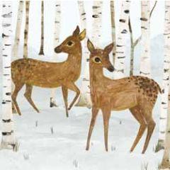 5 kerstkaarten woodmansterne - reeen in de sneeuw