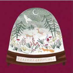 5 kerstkaarten woodmansterne - bol met sneeuwlandschap