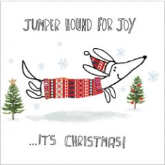 5 kerstkaarten woodmansterne - jumper hound for joy it s christmas - teckel