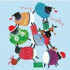 5 kerstkaarten woodmansterne - merry christmas - schapen