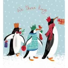 5 kerstkaarten woodmansterne - we three kings - pinguins