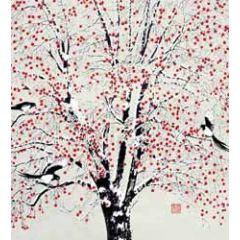 5 kerstkaarten woodmansterne - bomen, sneeuw en vogels
