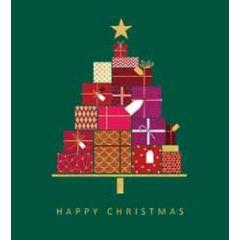 5 kerstkaarten woodmansterne - kerstboom van cadeautjes
