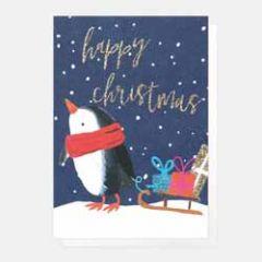 5 kerstkaartjes caroline gardner - happy christmas - pinguin