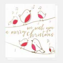 5 luxe kerstkaarten caroline gardner - we wish you a merry christmas - roodborstjes